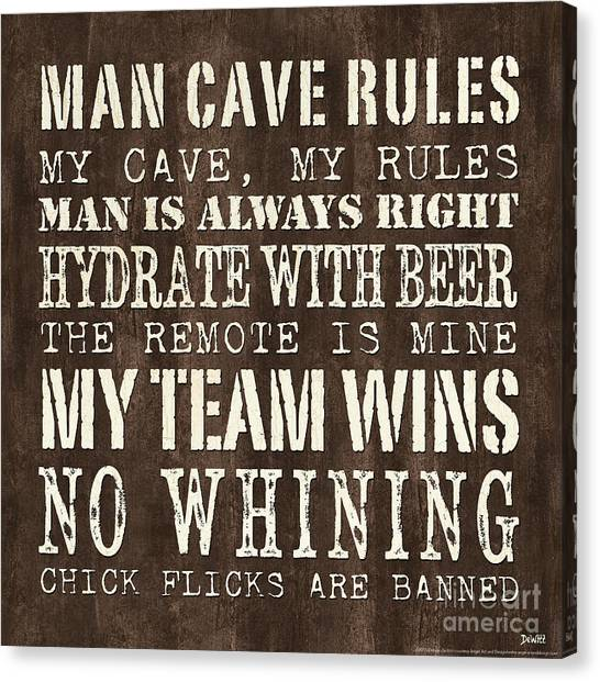 Caves Canvas Print - Man Cave Rules 1 by Debbie DeWitt