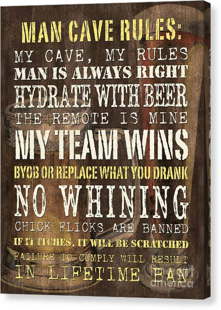 Type Canvas Print - Man Cave Rules 2 by Debbie DeWitt