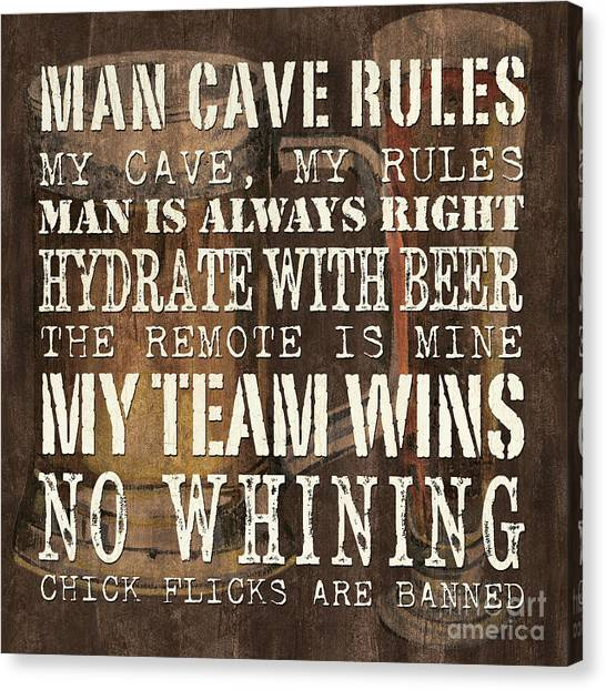 Pub Canvas Print - Man Cave Rules Square by Debbie DeWitt