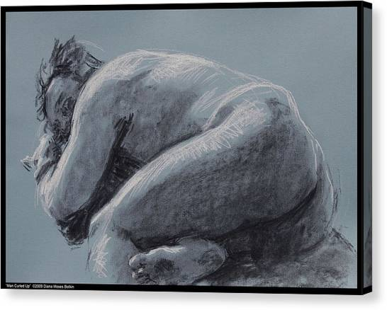 Man Curled Up Canvas Print