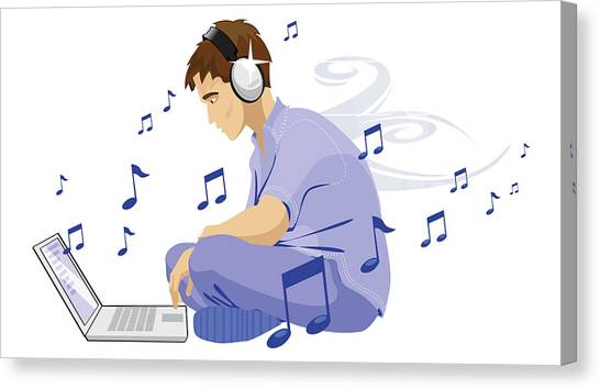 Headphones Canvas Print - Man Downloading Music From Internet by Fanatic Studio / Science Photo Library