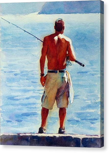 Man, Fishing Canvas Print by Graham Berry