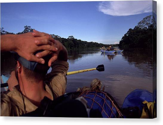 Congo River Canvas Print - Man Floating Down Chinko River, Central by Chris Anderson