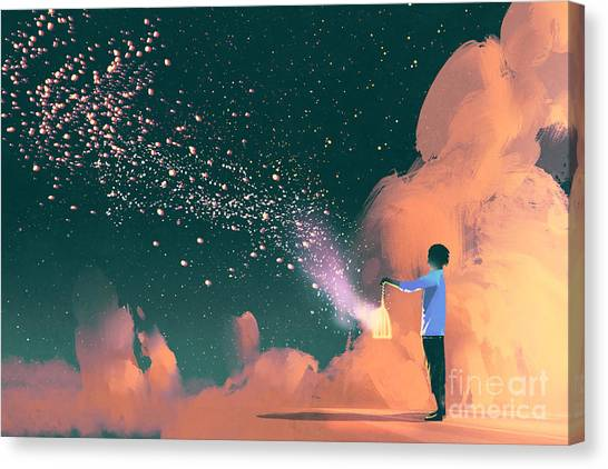 Concept Canvas Print - Man Holding A Cage With Floating by Tithi Luadthong