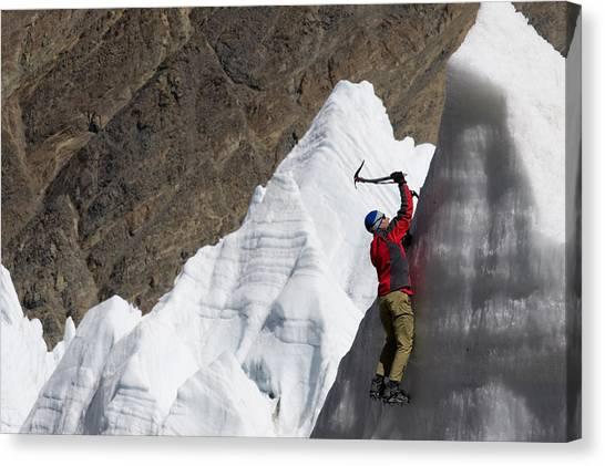Ice Climbing Canvas Print - Man Ice Climbing On Glacier, Tibet by Gabe Rogel