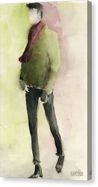 Abstract Portrait Canvas Print - Man In A Green Jacket Fashion Illustration Art Print by Beverly Brown Prints