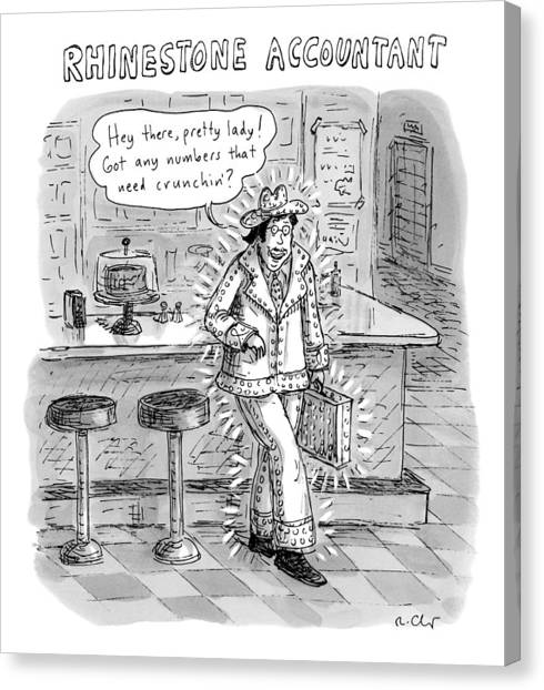 Taxes Canvas Print - Man In A Rhinestone Suit Leans Against A Bar by Roz Chast