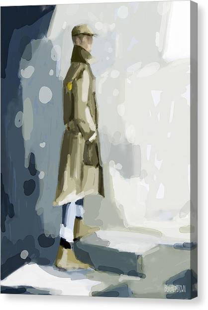 Abstract Portrait Canvas Print - Man In A Trench Coat Fashion Illustration Art Print by Beverly Brown Prints