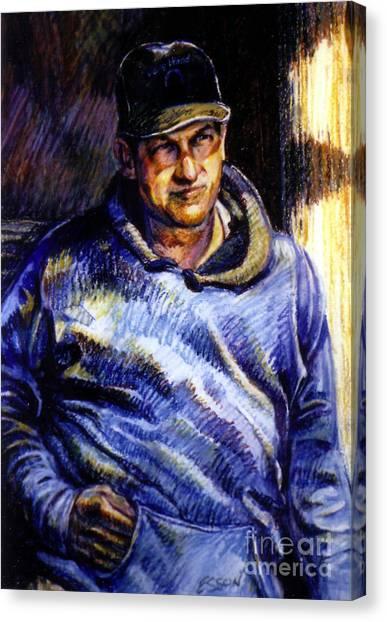 Man In Barn Canvas Print
