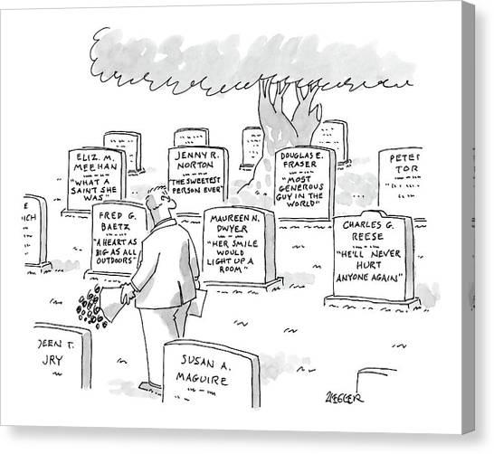 Maureen Canvas Print - Man In Graveyard Looks At Tombstones by Jack Ziegler