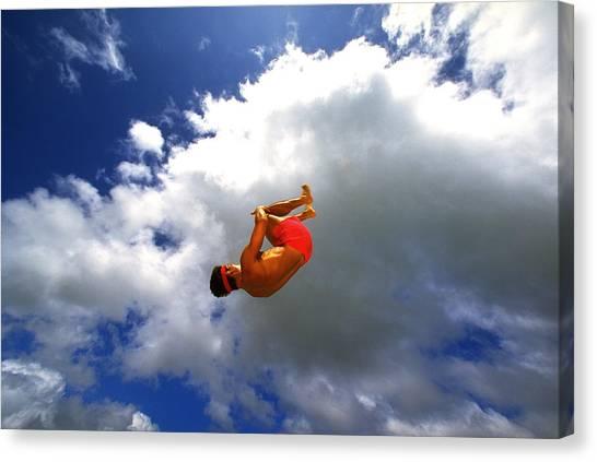 Trampoline Canvas Print - Man In Mid-air by Sunstar
