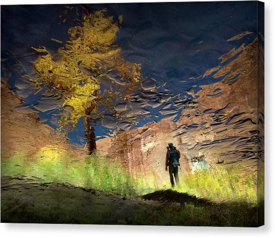 Impressionistic Canvas Print - Man In Nature - Into The Canyon by Shenshen Dou