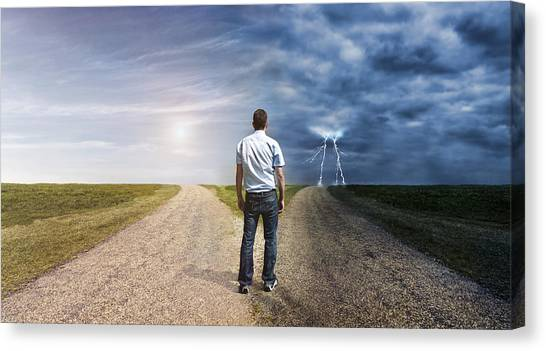 Man Must Decide His Way Forward To Success Or Failure Canvas Print by Mikkelwilliam