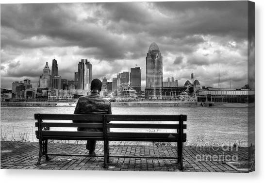 Man On A Bench Canvas Print