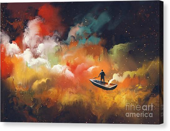 Planet Canvas Print - Man On A Boat In The Outer Space With by Tithi Luadthong
