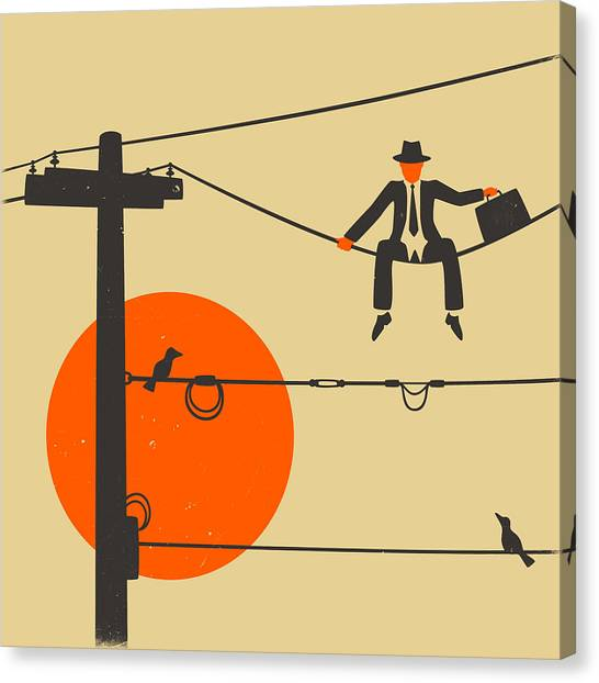 Abstract Art On Canvas Print - Man On A Wire by Jazzberry Blue