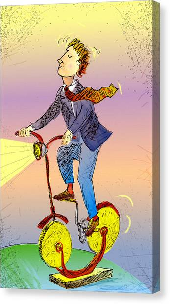 Man On Bike Made Of Coins Canvas Print by Vasily Kafanov