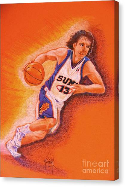 Phoenix Suns Canvas Print - Man On Fire by Marilyn Smith