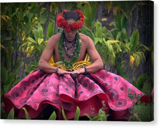 Man Performing Ancient Hula Canvas Print
