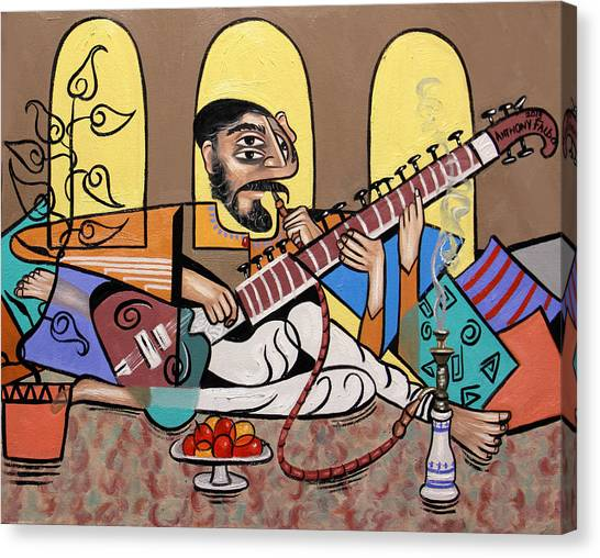 Fine Art India Canvas Print - Man Playing A Sitar by Anthony Falbo