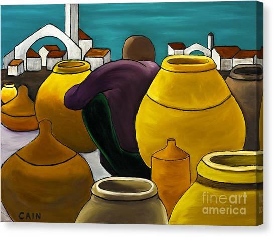 Man Selling Pots Canvas Print