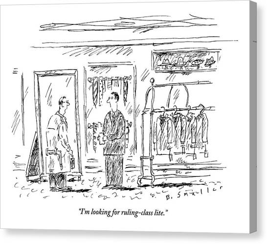 Clothing Store Canvas Print - Man Speaks To Salesman In A Men's Clothing Store by Barbara Smaller