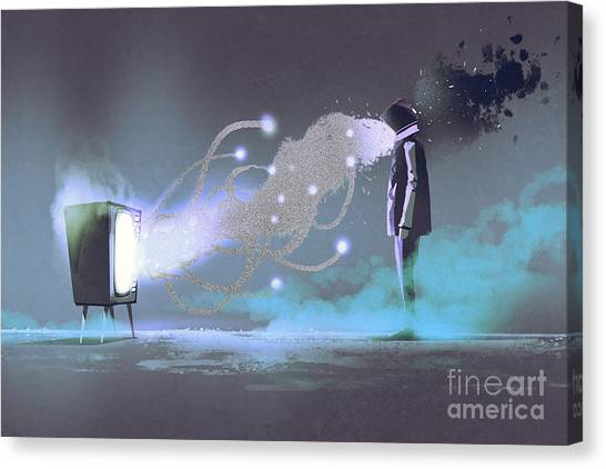 Concept Canvas Print - Man Standing In Front Of Unusual by Tithi Luadthong