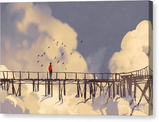 Nature Canvas Print - Man Standing On Old Bridge In by Tithi Luadthong