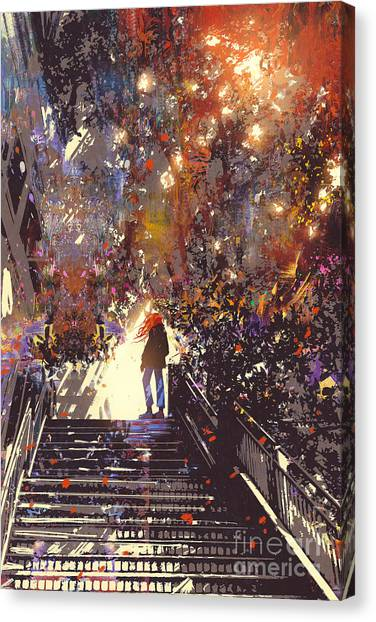 Bright Canvas Print - Man Standing On The Top Of Stair In The by Tithi Luadthong