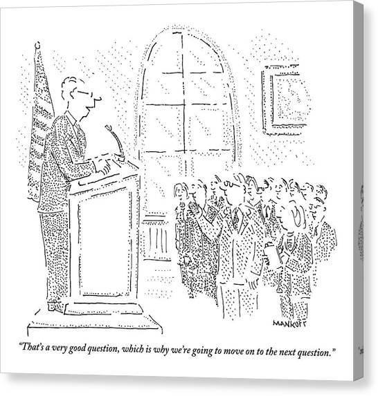 Press Conference Canvas Print - Man Stands At A Podium - A Flag Is To His Left by Robert Mankoff
