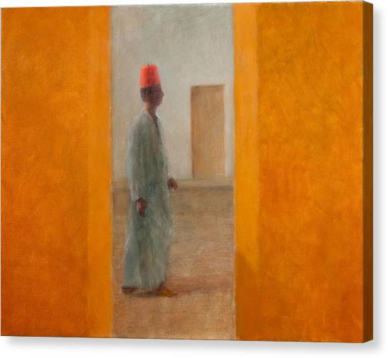 Moroccon Canvas Print - Man, Tangier Street, 2012 Acrylic On Canvas by Lincoln Seligman