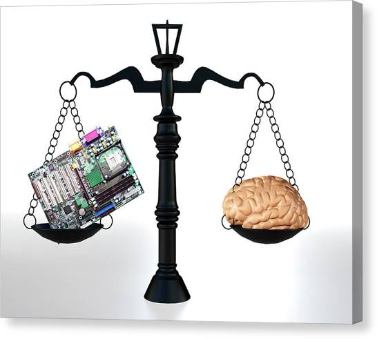 Computer Science Canvas Print - Man Vs Machine by Christian Darkin