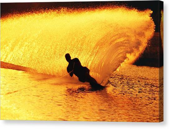 Water Skis Canvas Print - Man Waterskiing by Jason Witherspoon