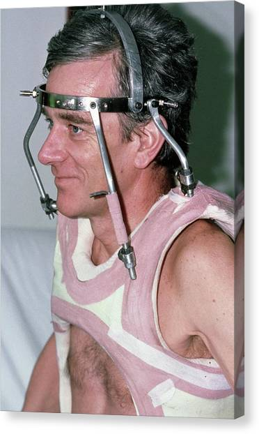 Braces Canvas Print - Man Wearing A Neck Brace After A Spinal Fracture by Dr P. Marazzi/science Photo Library