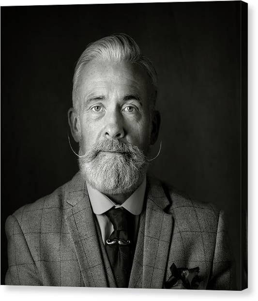 Old Man Canvas Print - Man With A Tash by Hugh Wilkinson