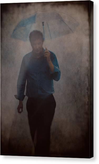 Man With An Umbrella Canvas Print
