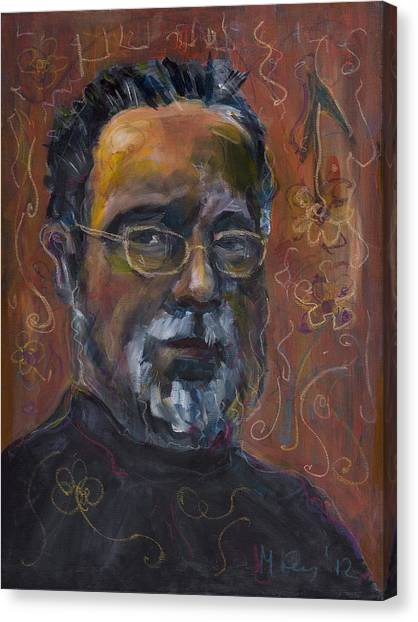 Man With Flowers-self-portrait Canvas Print