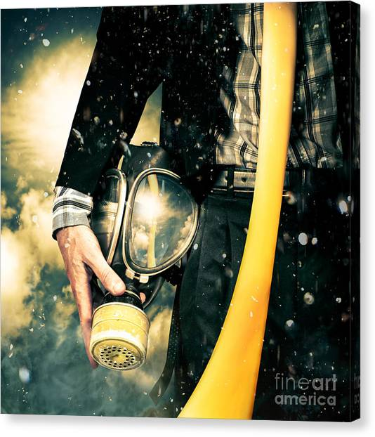 Biohazard Canvas Print - Man With Gas Mask. New Beginning. Skys The Limit by Jorgo Photography - Wall Art Gallery