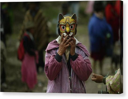 Cotopaxi Canvas Print - Man With Tiger Mask In The Christmas by Ivan Kashinsky