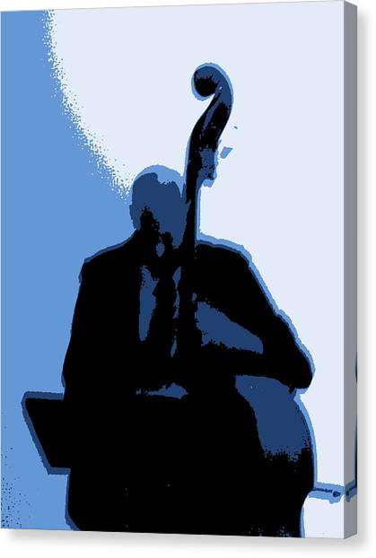 Man With Upright Bass In Blue Canvas Print by Mike McCool