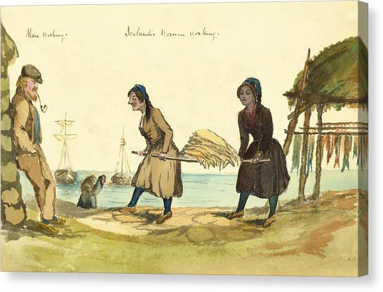 Islanders Canvas Print - Man Working And Icelandic Women Working Circa 1862 by Aged Pixel