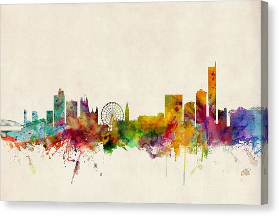United Kingdom Canvas Print - Manchester England Skyline by Michael Tompsett