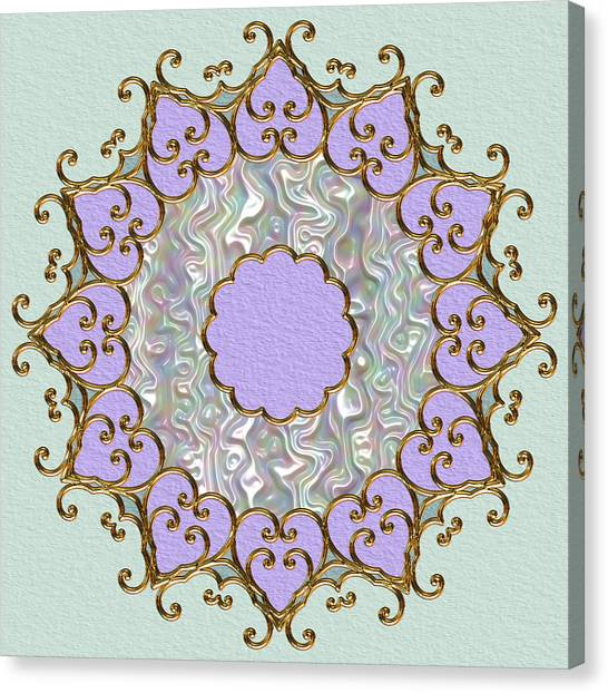 Mandala In Gold And Orchid Canvas Print by Pat Follett