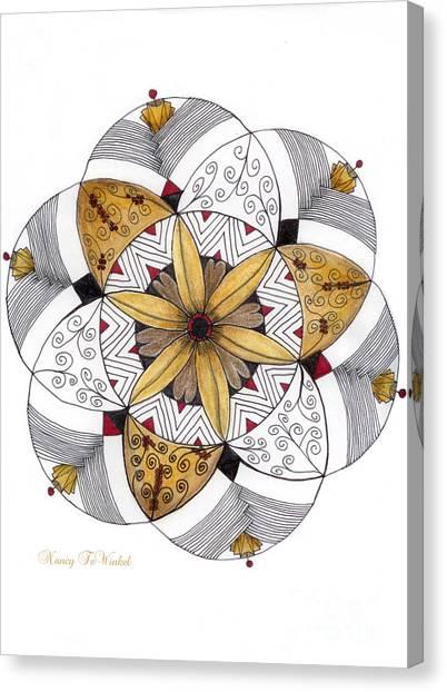 Protractors Canvas Print - Mandala Of Thanksgiving by Nancy TeWinkel Lauren