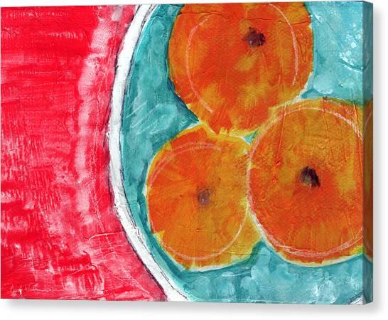 Bowl Canvas Print - Mandarins by Linda Woods