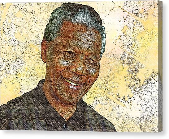 Democratic Politicians Canvas Print - Mandela by Anthony Caruso