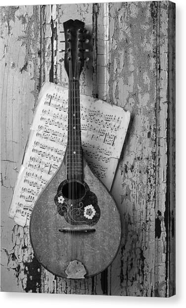 Mandolins Canvas Print - Mandolin In Black And White by Garry Gay