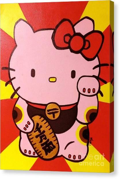 China Town Canvas Print - Maneki Hello Kitty by Jin Kai