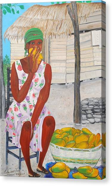 Mango Merchant Woman Canvas Print