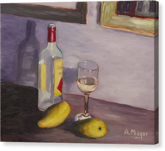 Mangoes And White Wine Canvas Print